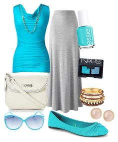 Bright Blues by ohsosara64 on Polyvore featuring polyvore, fashion, style, Thalia Sodi, Kenneth Cole Reaction, Saachi, Wet Seal, NARS Cosmetics, Essie and clothing