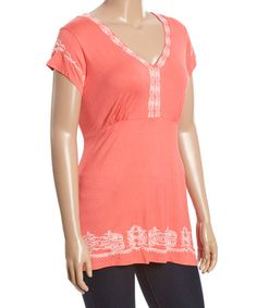 Love this Coral Embroidered V-Neck Tunic - Plus on #zulily! #zulilyfinds