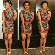 African Print Dress w/ Gold Shoes