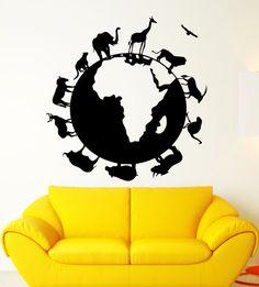 Vinyl Aufkleber Animal Planet Erde Natur für Kinder Zimmer Wandaufkleber (ig2233)