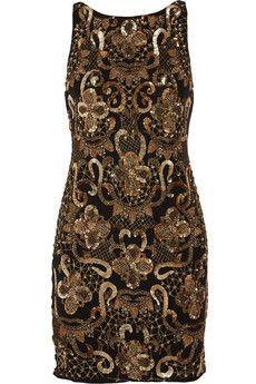Alice   Olivia Demie embellished silk-chiffon mini dress | THE OUTNET