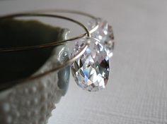 Cubic zirconia earrings sterling silver hoops  -  Kaimana Faux Oval v1