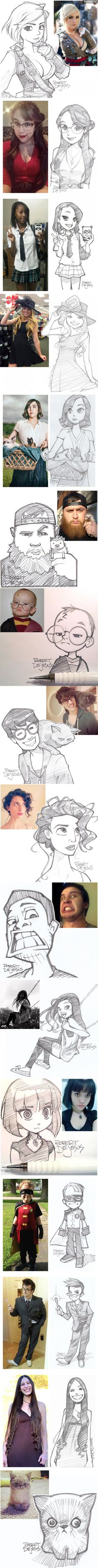Robert DeJesus sketches friends as anime-style.