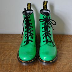 vintage classic 90s lime neon green patent leather dr martens lace up... ❤ liked on Polyvore