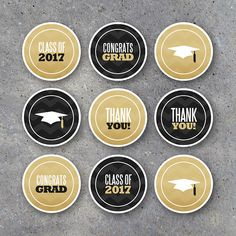 Graduation Cupcake Toppers and Tags! Printable CONGRATS and THANK YOU black and gold circle tags for party favors, gift tags, decor and more! Our coordinating line of instant downloads lets you pull together a professional party in just minutes! By Studio 120 Underground, $5.