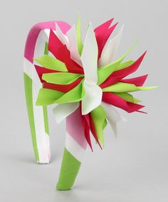 #Love it! Hot Pink  Green Headband  Clip from Picture Perfect Hair Bows on #zulily #cute #kids #girls