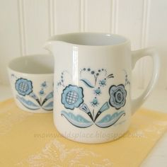 Vintage Berggren Creamer Sugar with Blue Rosmaling Flowers ~ Mom Wald's Place