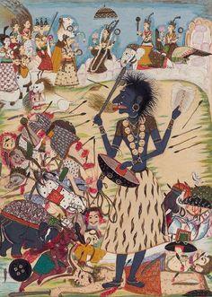 Illustration from a Devimahatmya series, Chattapur, Central India, circa KALI Medusa Art, Indian Illustration, Pagan Gods, India Art, Durga Goddess, Indian Gods, Indian Paintings, Mural Painting, Gods And Goddesses