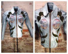 East West Musical Instruments Company Metallic Blue Janti Leather Jacket Sz M