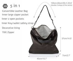This smart 5 -in1 practical convertible leather bag, can be easily carry as a handbag tote on shoulder, crossbody or even backpack. crafted in rich premium soft Italian quality leather, featuring top extra lock option that also change the shape of the bag for smaller size, zipper closure, 2