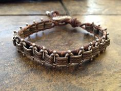Distressed brown leather and antiqued silver chan by DesignsforLJJ, $32.00