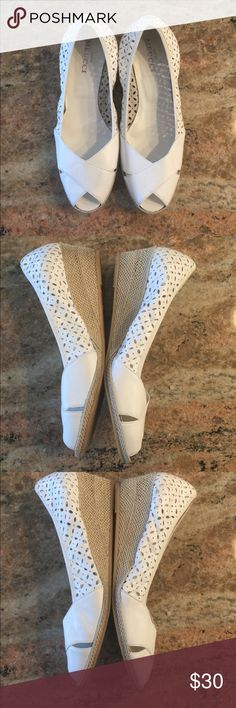 Sesto Meucci Wedge Shoes White Leather Perforated Sesto Meucci Peep Toe Wedge Shoes. Soft leather. Excellent used condition, but have been worn. Sorry, no shoebox. Sesto Meucci Shoes Wedges