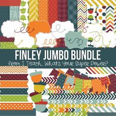 Digital Papers and Frames Finley Fall Jumbo Set