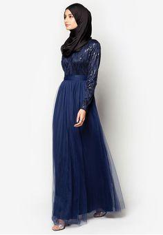 Sequin Fit & Flare Mesh Maxi Dress