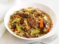 Slow-Cooker Beef and Barley Recipe : Food Network Kitchen : Food Network Slow Cooker Beef, Slow Cooker Recipes, Crockpot Recipes, Soup Recipes, Cooking Recipes, Healthy Recipes, Barley Recipes, Recipies, Healthy Dinners