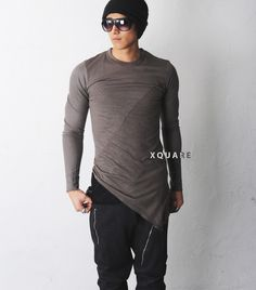 Mens DRKSHDW Asymmetric Silky Cut-out T-shirt at Fabrixquare