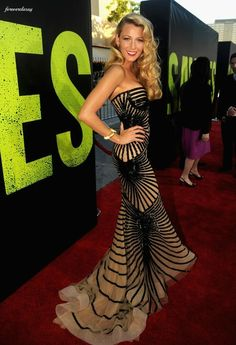 Blake Lively sizzles in a sultry Zuhair Murad couture gown at the LA premiere of Savages