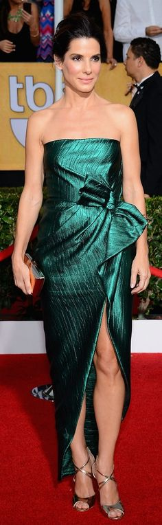 Sandra Bullock Style: This leg-baring Lanvin dress stood out from the crowd at the 2014 SAG Awards.