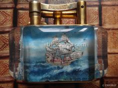 DUNHILL AQUARIUM TABLE LIGHTER with SAILING SHIPS - Rolled Gold Plated