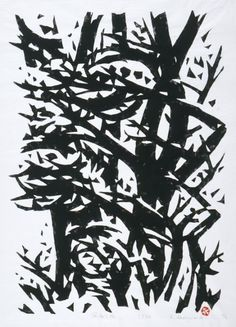 Wind in the Forest | Sasajima Kihei, woodcut | The use of space is really inspiring. I don't know where to look :)