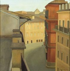 Milestone Yellow Antonio Donghi Via del Lavatore 1924 History Of Modern Art, Rome Streets, Pictures At An Exhibition, Classical Realism, Italian Paintings, Magic Realism, Vintage Artwork, Italian Artist, Art For Art Sake