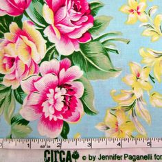 Free Spirit Fabric Floral Blue Floral Quilt Material Circa By Jennifer Paganelli