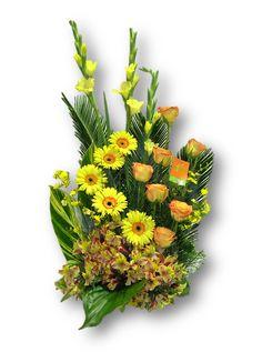 Solazo, una luz intensa que ilumina de entusiamo a quién la recibe. Gerberas, gladiolos, rosas y astromelias. Para comprar ventas@aflora.com.ve y www.aflora.com.ve