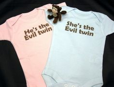 Funny Evil Twin Set of 2 Onesies, Great for Identical or Fraternal Twins, FREE GIFT WRAP. $29,99, via Etsy.