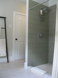 Moss Green Frosted Tile: Saint John Stone in Rhode Island, royal beige marble penny tile on shower floor