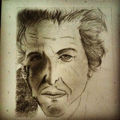 A simple sketch of an attempt to draw the face of Bob Dylan.