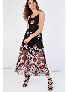 Look X glamorous black multi floral midi dress