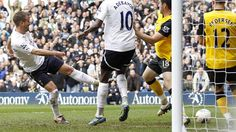 Rafael van der Vaart (Tottenham Hotspur FC)  Rafael van der Vaart (L) of Tottenham Hotspur FC scores his goal during the English Premier League match against Blackburn Rovers
