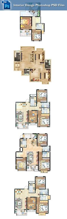 Amazing 15 Types Of Interior Design Layouts Photoshop PSD Template V.1