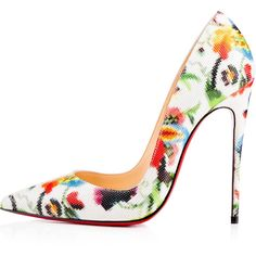 So Kate 120mm Multicolor Patent Mosaique ($745) ❤ liked on Polyvore featuring shoes, pumps, patent leather pumps, pointed toe stilettos, christian louboutin pumps, christian louboutin shoes and patent pumps