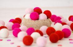 Valantine's Felt Balls   100 Wool Felt Balls  40 by CraftyWoolFelt