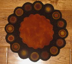 Wool Penny Rug/Candle Mat ~ Fall Colors ~ 16 Inch Diameter ~ Pennies Hand Dyed #NaivePrimitive