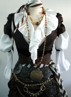 Adult Women's Victorian / Steampunk Pirate Halloween Costume With Belts… Pirate Garb, Pirate Cosplay, Female Pirate Costume, Steampunk Clothing, Steampunk Fashion, Gypsy Clothing, Renaissance Clothing, Gothic Fashion, Pirate Steampunk