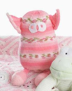 Goofy and huggable monster toy. Shown in Bernat Baby Jacquards.