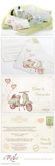 Vintage wedding invitation card Partecipazione matrimonio in stile vintage Vintage Hochzeitseinladung www.emoveo-cards.com