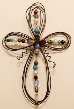 Beaded Wire Cross  Multicolor III by KristinsCraftShop on Etsy, $24.99