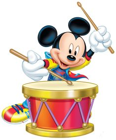 Mickey Mouse With Drum Transparent PNG Clip Art Image