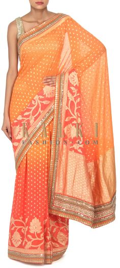 Buy this Orange and coral shaded saree with zari border only on Kalki