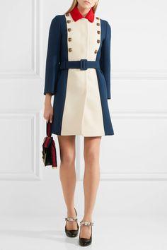 Gucci - Embellished Color-block Wool Coat - Royal blue - IT44