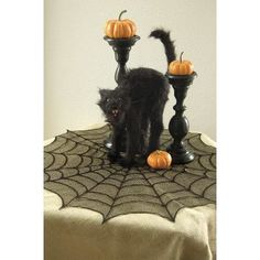 Heritage Lace Spider Web Round Table Topper Color: Black