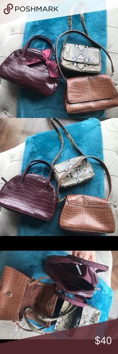 Lot of 3 small handbags new with no tags Victoria secret the one with the Bow , Nine West And Claiborne.... all with no tags but I never used them just in my closet Multiples Bags Mini Bags