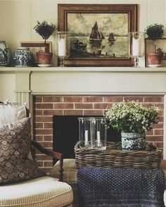 My big bunch of chamomile daisies is making the living room feel like summer is near! The 80 degree temps outside too! Modern Restaurant, Restaurant Interior Design, Interior Design Services, Interior Ideas, Fireplace Mantels, Fireplaces, Mantles, Fireplace Ideas, Country Style Homes