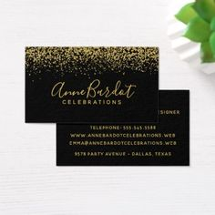 Elegant Gold Confetti & Black Professional Business Card - makeup artist business customize diy
