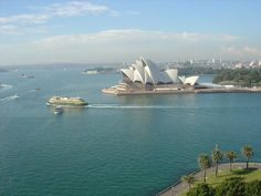 View from Sydney Harbour Bridge Walkway with Manly Ferry, Sydney, Australia