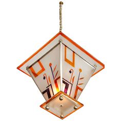 Hanging Lamp with Decorated Glass Shade, German, 1920s   From a unique collection of antique and modern chandeliers and pendants at https://www.1stdibs.com/furniture/lighting/chandeliers-pendant-lights/