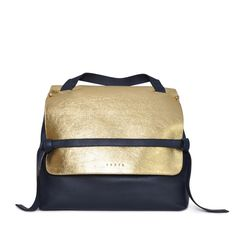 Eddie | Wolf & Badger #backpack #navy #gold #natural #leather